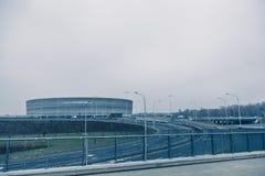 Stadion modern arkitektur i Wroclaw Polen Arkivbild