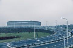 Stadion modern arkitektur i Wroclaw Polen Royaltyfria Foton