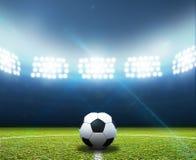 Stadion- och fotbollboll arkivbild