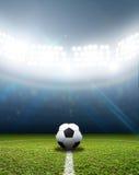 Stadion- och fotbollboll royaltyfri bild