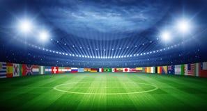 Stadion och nationer teams flaggor fotografering för bildbyråer
