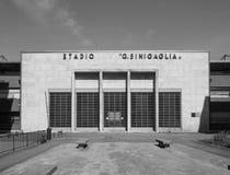 Stadion Stadio Sinigaglia in Como in Schwarzweiss Lizenzfreies Stockfoto