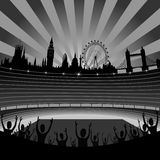 Stadion- und London-Skyline - Vektor Lizenzfreie Stockfotos