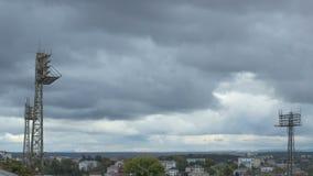 Stadion und Wolken vorbei stock footage