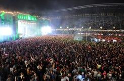 Stadionhoogtepunt met menigte Royalty-vrije Stock Foto