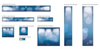 Stadionlampor avslutar banerpacken stock illustrationer