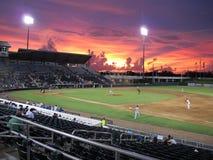 Stadionljus på en basebollarena Royaltyfria Foton