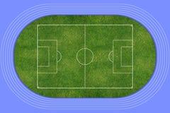 Stadionu Futbolowego śródpolny odgórny widok Zdjęcie Royalty Free