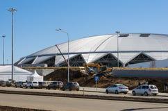 Stadionu futbolowego Samara jest w budowie Fotografia Royalty Free