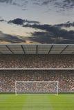 Stadionu futbolowego stojak z tłumem, cel poczta Obraz Stock