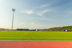 Stadium. Empty Stadium Arena With Football Field And Racing Tracks Royalty Free Stock Images