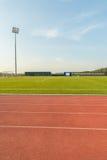 Stadium. Empty Stadium Arena With Football Field And Racing Tracks Royalty Free Stock Photo