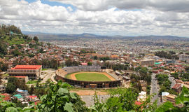 Stadium from above. Stadium of Antananarivo of Madagascar from above with beautiful clouds Royalty Free Stock Photo