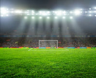 On the stadium. Abstract football or soccer backgrounds Stock Image