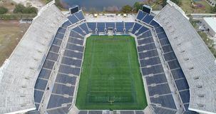 The Stadium. An aerial view of a large football stadium in the United States stock video