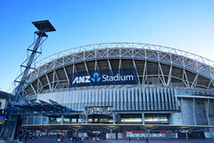 Stadium Australia ANZ Stadium formerly Telstra Stadium  is a multi-purpose venue in the Sydney Olympic Park near sunset Royalty Free Stock Image