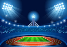 Olympics Paralympics Game Rio Brasil 2016 Stadium Background Summer Games Empty Field Background Nocturnal View. Vector Illustration Stock Photography
