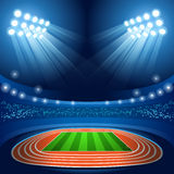 Olympics Paralympics Game Rio Brasil 2016 Stadium Background Summer Games Empty Field Background Nocturnal View. Vector Illustration royalty free illustration