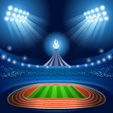 Stadium Background Olympic Rhythmic Gymnastics Female Athlete with Ribbon Equipment Gymnast on Field Background. Olympics Paralympics Game Rio Brasil 2016 Royalty Free Stock Images