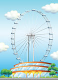 A stadium with a big ferris wheel. Illustration of a stadium with a big ferris wheel Royalty Free Stock Photos
