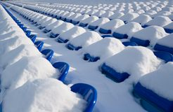 Stadium. Big snow. Royalty Free Stock Photo