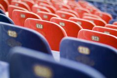 Stadium bleachers. Empty sport stadium bleacher seat chair row royalty free stock photography
