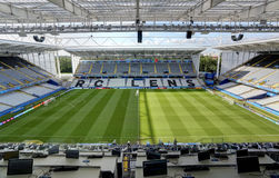 Stadium Bollaert-Delelis, Lens, France. Field of play without players and public Stock Photography