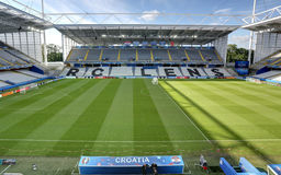 Stadium Bollaert-Delelis, Lens, France. Field of play without players and public Royalty Free Stock Images