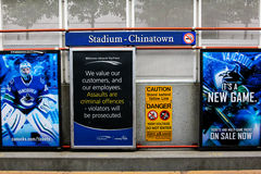 Stadium - Chinatown, Vancouver Skytrain station Stock Image