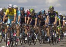 Stadium 3 Chris Froome Yellow Jersey Tour-Des Frankreich 2014 Lizenzfreie Stockbilder