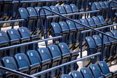 Stadium or cinema seats. Stadium or cinema blue plastic seats Stock Photo