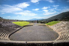 Stadium in the city of Ancient Messina, Peloponnes, Greece. Hdr royalty free stock image