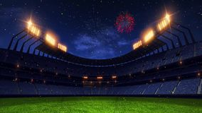 Stadium court. Sport arena. Ready to start championship. 3d render. Moving lights. and fireworks