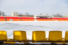 The stadium covered with snow in winter Stock Image