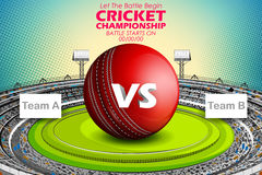 Stadium of Cricket with ball on pitch and VS versus text. Illustration of Stadium of Cricket with ball on pitch and VS versus text Royalty Free Stock Photos