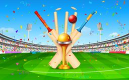 Stadium of cricket with bat, ball and trophy Stock Photo