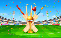 Stadium of cricket with bat, ball and trophy Stock Photography