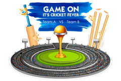 Stadium of Cricket with Bat, wicket and Trophy. Illustration of Stadium of Cricket with Bat, wicket and Trophy Stock Photography