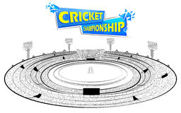 Stadium of Cricket with pitch for champoinship match Royalty Free Stock Images
