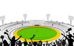 Stadium of Cricket with pitch for champoinship match Stock Photography