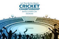 Stadium of Cricket with pitch for champoinship match. Illustration of Stadium of Cricket with pitch for champoinship match and supporter fan people cheering team Stock Image