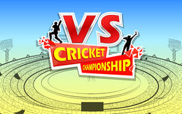 Stadium of Cricket with pitch and VS versus text Royalty Free Stock Photo
