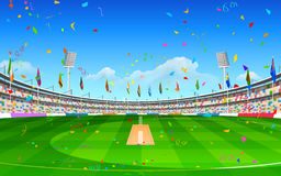 Stadium of cricket showing flags of participating countries Royalty Free Stock Photography