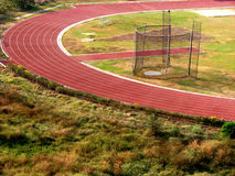 Stadium Curves. A beautiful athletic track in a stadium Royalty Free Stock Photo