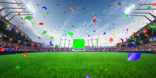 Stadium day Confetti and tinsel with people fans. 3d render illustration cloudy Stock Image