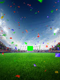 Stadium day Confetti and tinsel with people fans. 3d render illustration cloudy Stock Images