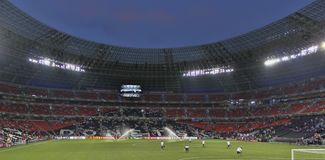 Stadium Donbas Arena preparing before the EURO 2012 match in Don stock photo