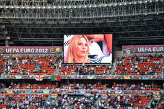 Stadium Donbass - Arena, fans, TV monitor Royalty Free Stock Photos