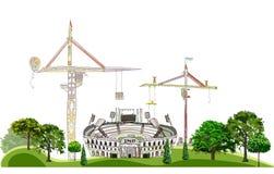 Stadium dostaje być budową, sporta centrum ilustracja, miasto kolekcja ilustracja wektor