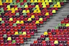 Stadium empty tribune. Detail with empty colored sports arena tribune on a football stadium Royalty Free Stock Photo